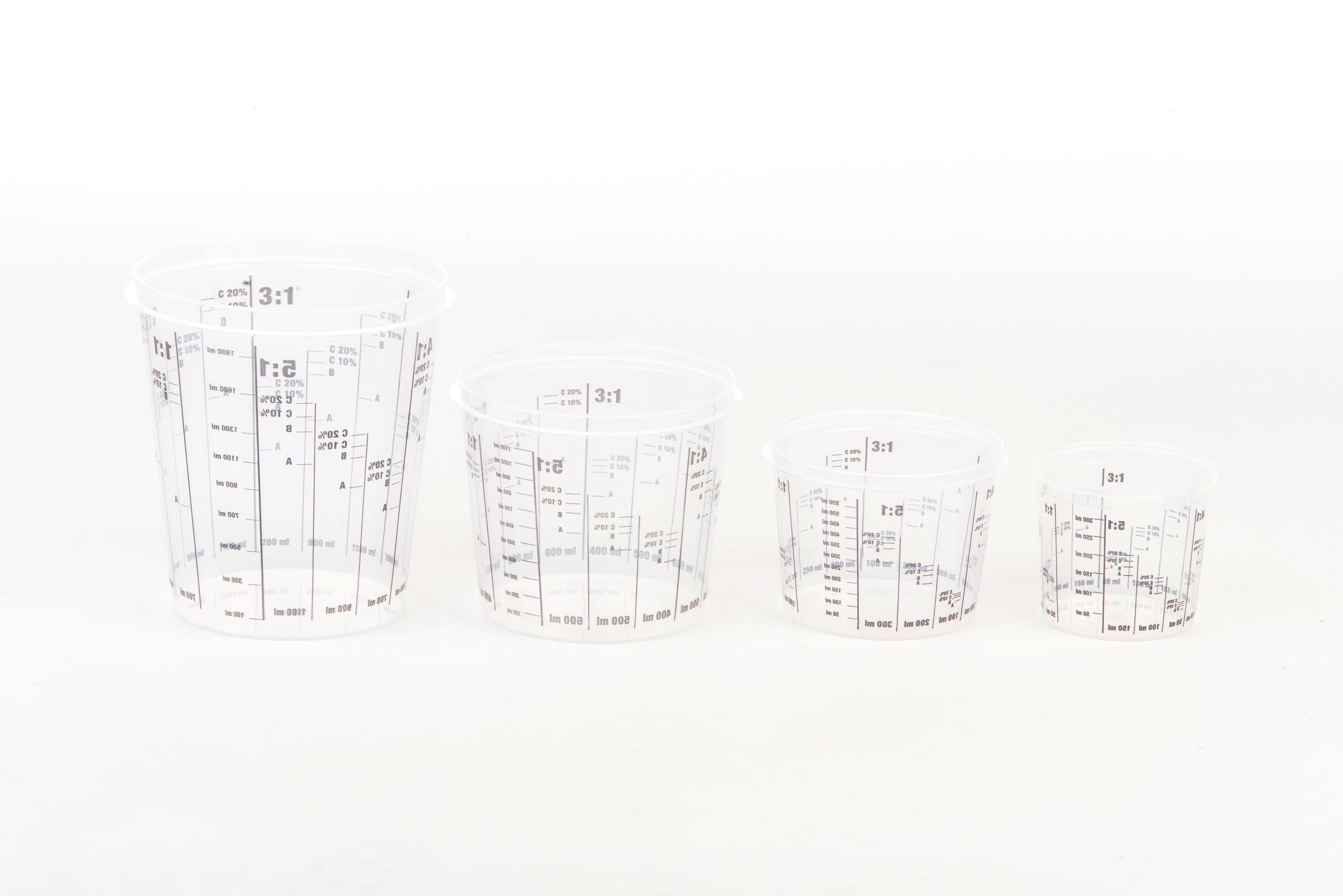 PVC Mischbecher mit Skala 385 ml 1:1-2:1-3:1-4:1-5:1