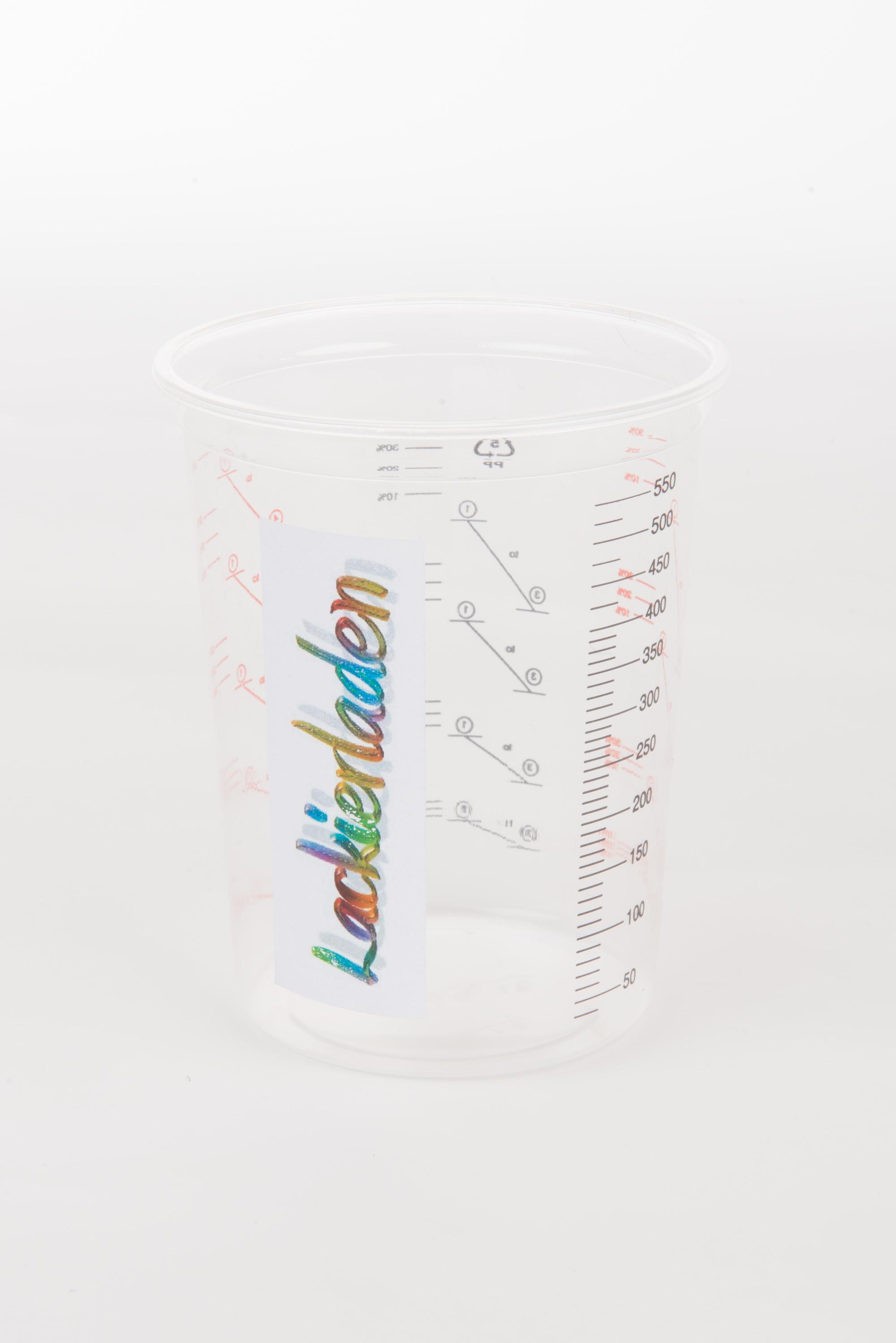 einfacher PVC Mischbecher mit Skala 600 ml 2:1-3:1-4:1